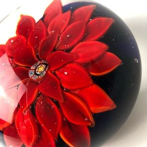 Red Gerbera glass heavy flower paperweight